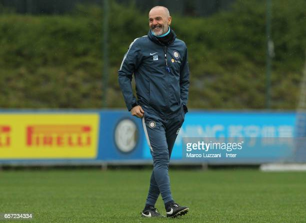 Internazionale Milano coach Stefano Pioli smiles during the FC Internazionale training session at the club's training ground Suning Training Center...