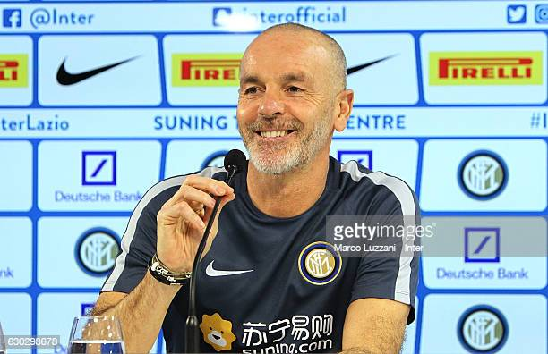Internazionale Milano coach Stefano Pioli speaks to the media during a press conference at the Suning Training Center in memory of Angelo Moratti on...