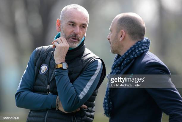 Internazionale Milano coach Stefano Pioli speaks with Sportif Director of FC Internazionale Milano Piero Ausilio during the FC Internazionale...