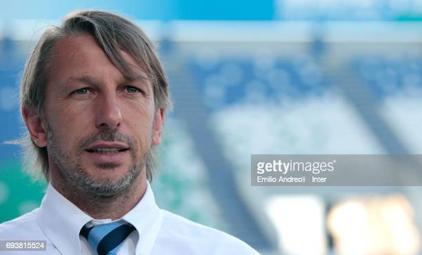 FC Internazionale Milano coach Stefano Vecchi looks on before the Primavera TIM Playoffs match between FC Internazionale and AS Roma on June 8 2017...