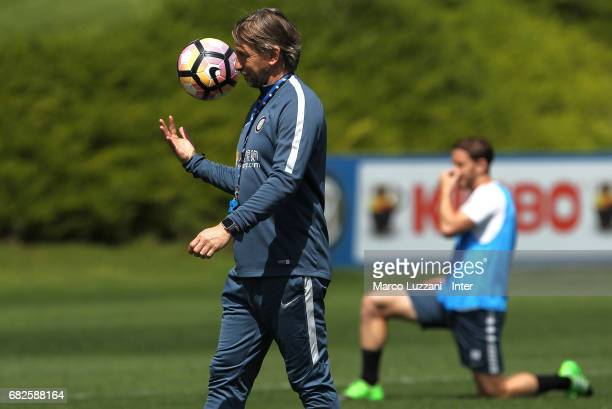 Internazionale Milano coach Stefano Vecchi looks on during the FC Internazionale training session at the club's training ground Suning Training...