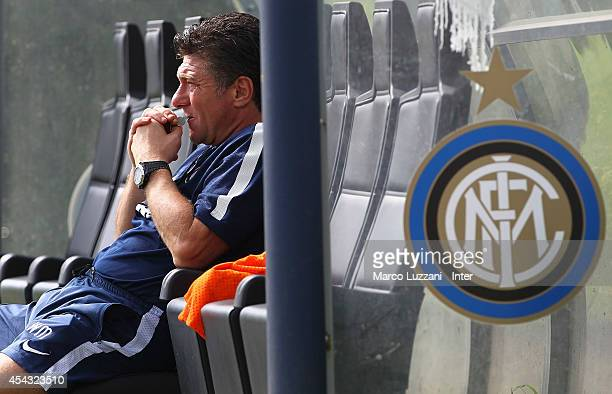 Internazionale Milano coach Walter Mazzarri looks on during FC Internazionale Training Session at the club's training ground on August 29 2014 in...