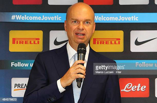 Internazionale Milano General Manager Marco Fassone speaks to the media during a press conference at Stadio Giuseppe Meazza on August 20 2015 in...