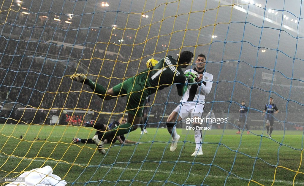 Internazionale Milano goalkeeper Samir Handanovic save to Aleandro Rosi of Parma FC during the Serie A match between Parma FC and FC Internazionale Milano at Stadio Ennio Tardini on November 26, 2012 in Parma, Italy.