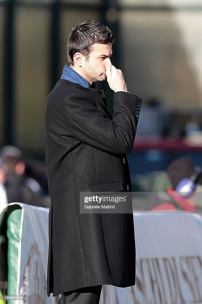 FC Internazionale Milano head coach Andrea Stramaccioni looks during the Serie A match between AC Siena and FC Internazionale Milano at Stadio Artemio Franchi on February 3, 2013 in Siena, Italy.