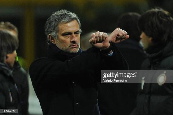 Internazionale Milano head coach Jose Mourinho reacts during the Serie A match between FC Internazionale Milano and UC Sampdoria at Stadio Giuseppe...