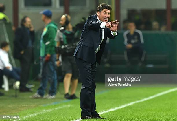 Internazionale Milano head coach Walter Mazzarri issues instructions during the Serie A match between FC Internazionale Milano and SSC Napoli at...