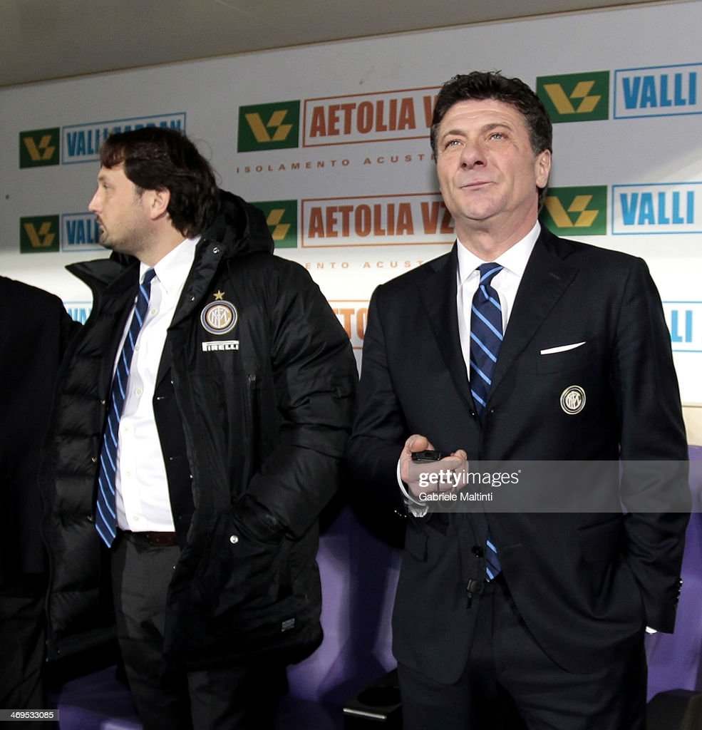 FC Internazionale Milano head coach Walter Mazzarri looks on during the Serie A match between ACF Fiorentina and FC Internazionale Milano at Stadio Artemio Franchi on February 15, 2014 in Florence, Italy.