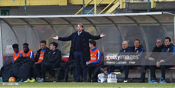 Internazionale Milano Juvenile coach Stefano Vecchi gestures during the juvenile match between FC Internazionale and Brescia Calcio at Stadio Breda...