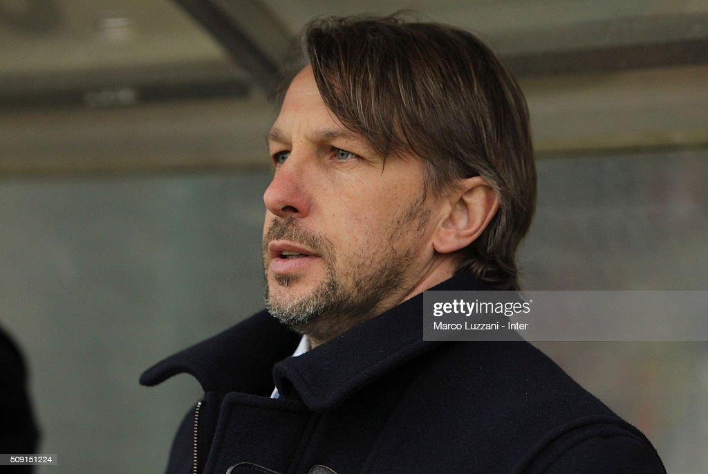 FC Internazionale Milano Juvenile coach Stefano Vecchi looks on before the juvenile TIM cup match between FC Internazionale and SS Lazio at Stadio Breda on February 9, 2016 in Sesto San Giovanni, Italy.