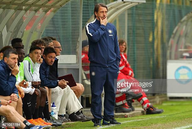 Internazionale Milano Juvenile coach Stefano Vecchi watches the action during the juvenile match between FC Internazionale and Pescara Calcio at...