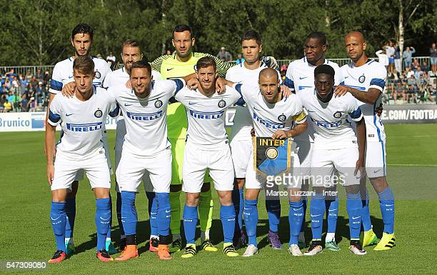 Internazionale Milano line up before before the preseason friendly match between FC Internazionale and CSKA Sofia on July 14 2016 in Bruneck Italy