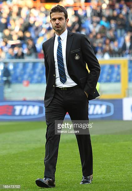 Internazionale Milano manager Andrea Stramaccioni walks on the pitch before the Serie A match between UC Sampdoria and FC Internazionale Milano at...