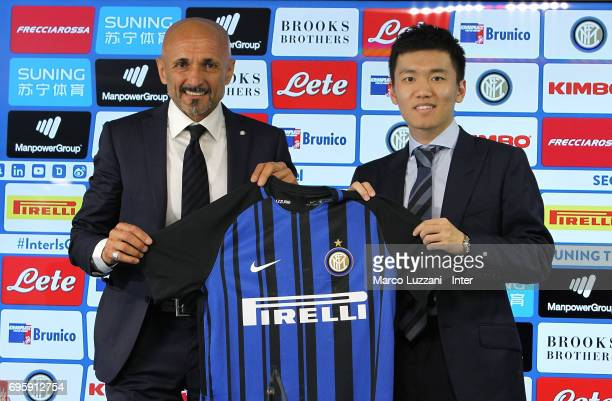 Internazionale Milano new coach Luciano Spalletti and FC Internazionale board member Steven Zhang during a press conference at the Suning training...