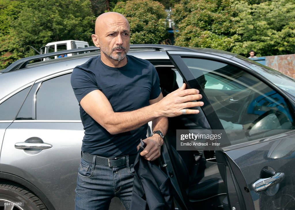 FC Internazionale Milano new coach Luciano Spalletti arrives at the club's training ground Suning Training Center in memory of Angelo Moratti on June 9, 2017 in Como, Italy.