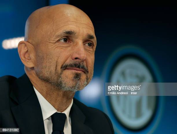 Internazionale Milano new coach Luciano Spalletti looks on after signing his contract at the Suning Training Center in memory of Angelo Moratti on...