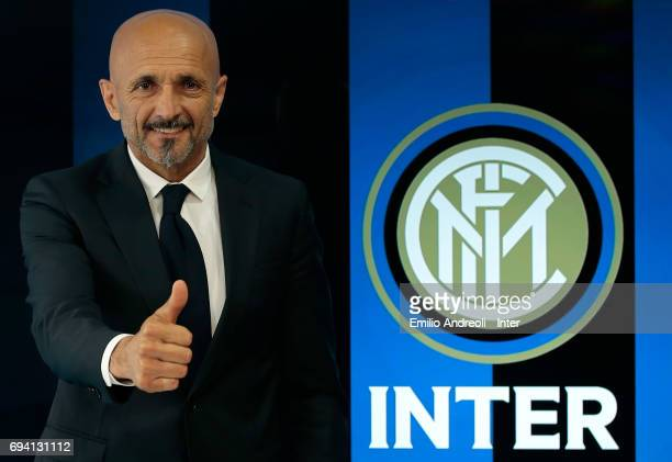 Internazionale Milano new coach Luciano Spalletti poses for a photo after signing his contract at the Suning Training Center in memory of Angelo...