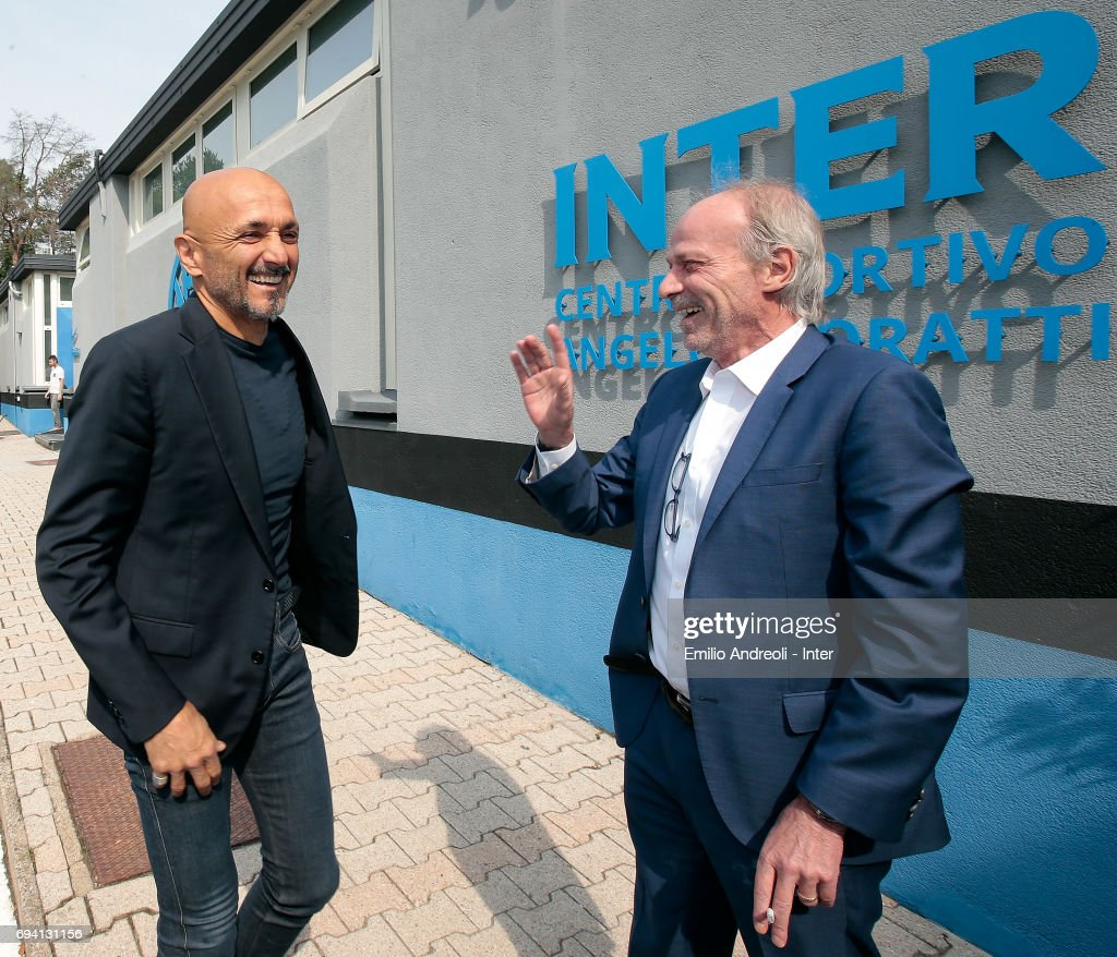 FC Internazionale Milano new coach Luciano Spalletti speaks to Suning Sports Technical Director Walter Sabatini at the club's training ground Suning Training Center in memory of Angelo Moratti on June 9, 2017 in Como, Italy.