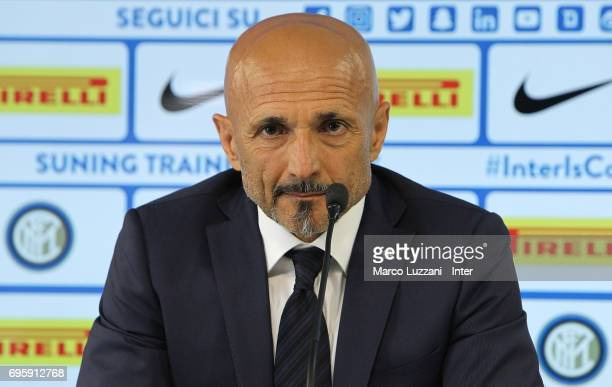 Internazionale Milano new coach Luciano Spalletti speaks to the media during a press conference at the Suning training center in memory of Angelo...