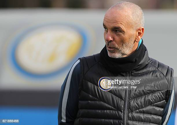 Internazionale Milano new coach Stefano Pioli looks on during the FC Internazionale training session at the club's training ground 'La Pinetina' on...