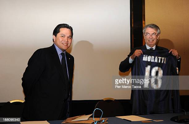Internazionale Milano new president Milano Erick Thohir and honorary president Massimo Moratti attend a press conference after the FC Internazionale...