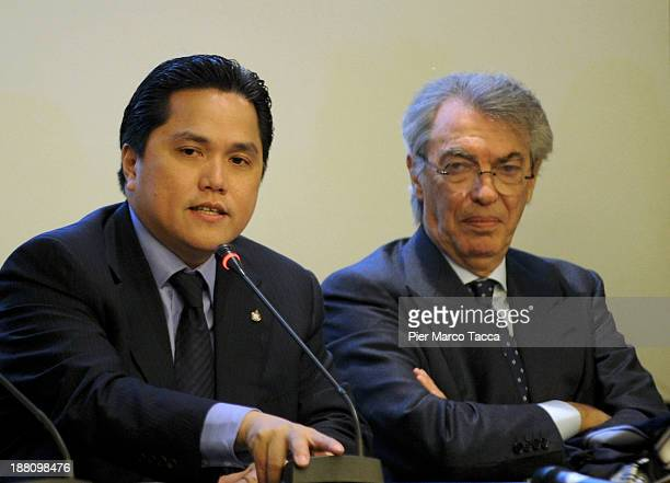 Internazionale Milano new president Milano Erick Thohir speaks beside honorary president Massimo Moratti duringa press conference after the FC...