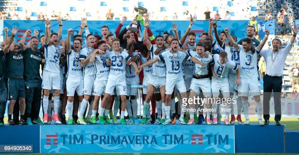 FC Internazionale Milano players celebrate the championship victory at the end of the Primavera TIM Playoffs match between FC Internazionale and ACF...