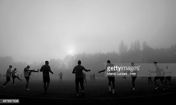 FC Internazionale Milano players train during the FC Internazionale training session at the club's training ground on November 18 2015 in Appiano...
