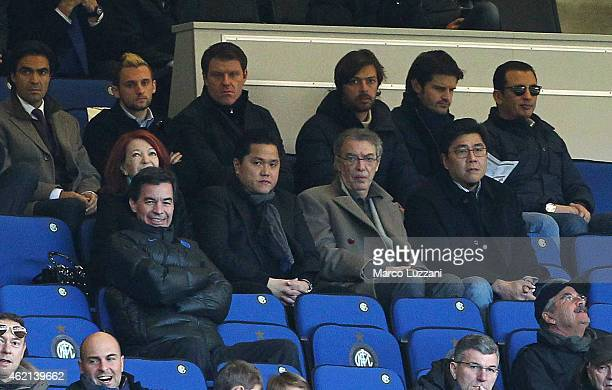 Internazionale Milano president Erick Thohir and Massimo Moratti look on during the Serie A match between FC Internazionale Milano and Torino FC at...