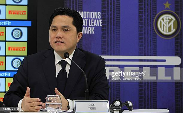 Internazionale Milano president Erick Thohir speaks to the media during a press conference at the club's training ground on March 14 2016 in Como...