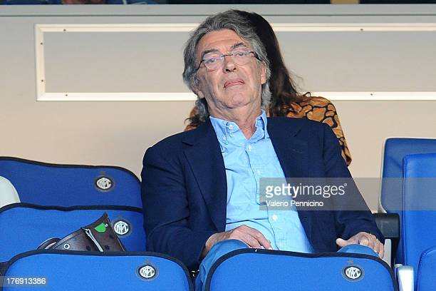Internazionale Milano president Massimo Moratti sits on the stand prior to the TIM cup match between FC Internazionale Milano and AS Cittadella at...