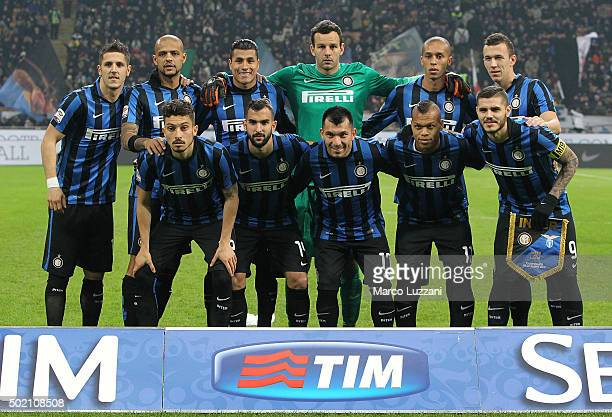 Internazionale Milano team line up before during the Serie A match between FC Internazionale Milano and SS Lazio at Stadio Giuseppe Meazza on...