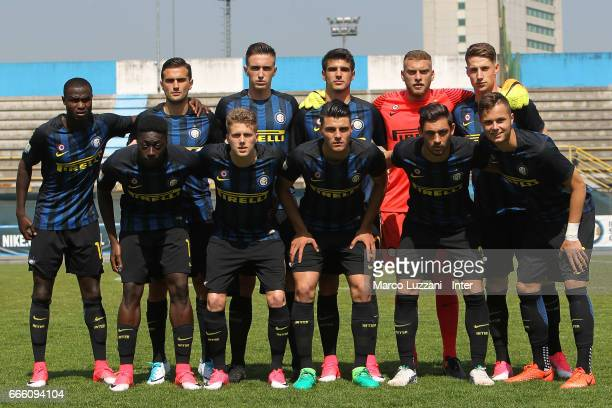 Internazionale Milano team line up before the Primavera Tim juvenile match between FC Internazionale and Atalanta BC at Stadio Breda on April 8 2017...