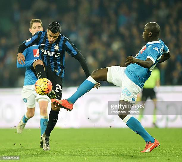 Internazionale Milano's player Jeison Murillo vies with SSC Napoli player Kalidou Koulibaly during the Serie A match between SSC Napoli and FC...