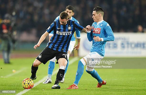 Internazionale Milano's player Marcelo Brozovic vies with Napoli player Josèp Maria Callejon during the Serie A match between SSC Napoli and FC...
