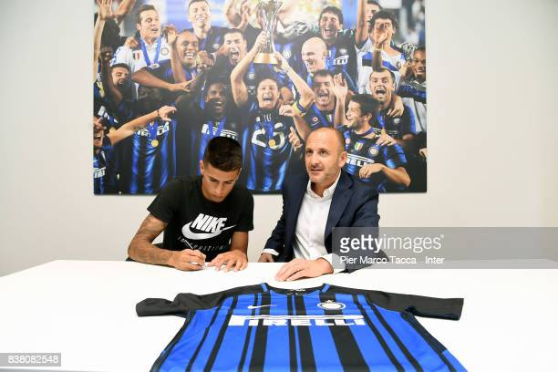 Internazionale New Signing Joao Cancelo and Piero Ausilio on August 21 2017 in Milan Italy