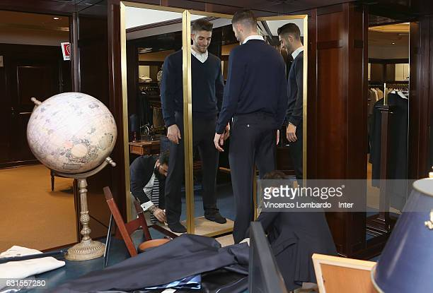 Internazionale New Signing Roberto Gagliardini Visits Brook Brothers Store on January 12 2017 in Milan Italy