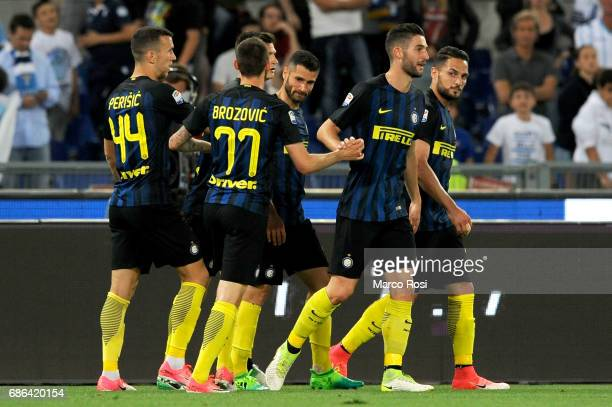 Internazionale player celebrates an own goal by Wesley Hoedt of SS Lazio during the Serie A match between SS Lazio and FC Internazionale at Stadio...