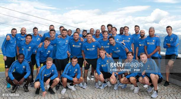 Internazionale players pose for a photo while visiting Plan de Corones during the FC Internazionale training camp on July 13 2017 in Reischach near...