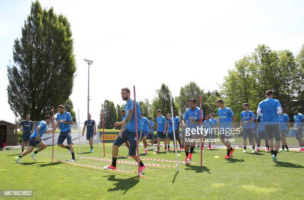 Internazionale players train during the FC Internazionale training session at the club's training ground Suning Training Center in memory of Angelo...