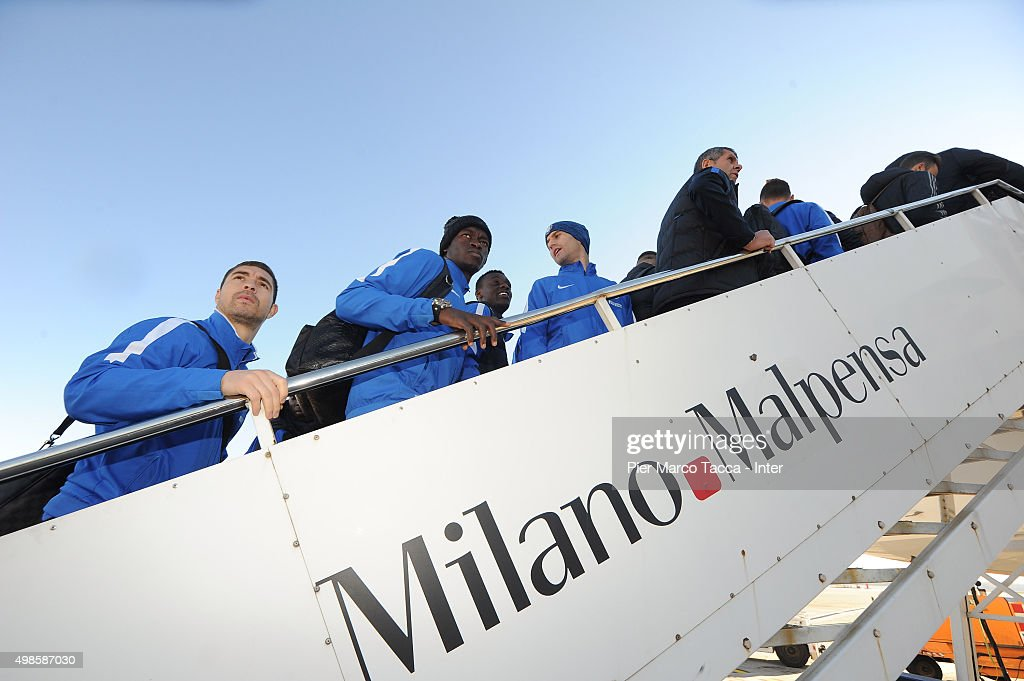 FC Internazionale team players are boarding the plane before the friendly tournament between FC Internazionale, AC Milan and AS Bari on November 24, 2015 in Milan, Italy.