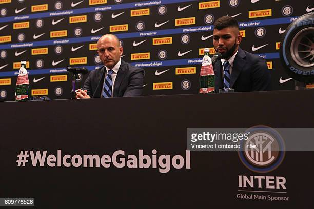 Internazionale Unveils new signing Piero Ausilio and Gabriel Barbosa during a press conference on September 22 2016 in Milan Italy