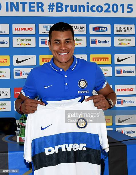 Internazionale's new signing Jeison Murillo poses for a photo during a press conference at Riscone di Brunico on July 16 2015 in Bruneck Italy