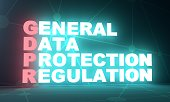 Acronym GDPR - General Data Protection Regulation. Internet conceptual image. Cyber security and privacy. 3D rendering. Neon bulb illumination