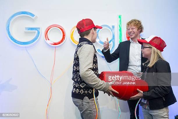 Internet entrepreneur Ben Woldring gestures during the opening of the new Google data center in Eemshaven near Groningen on December 6 2016 / AFP /...