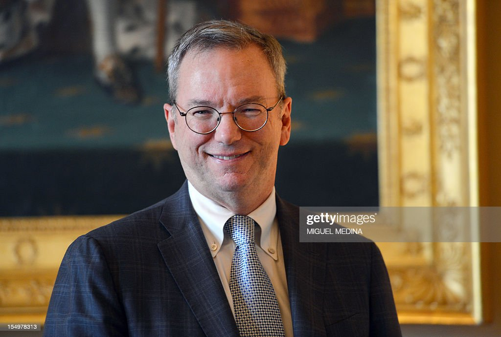 US Internet giant Google executive chairman Eric Schmidt poses prior to a meeting with French Minister for Culture and Communication, on October 29, 2012 at the Ministry of Culture in Paris. Google's executive chairman Schmidt will meet with French President Francois Hollande later in the day, as the Internet giant wrangles with Paris over a bill that would force search engines to pay for content, a government source said on October 27. Google had warned that it would exclude French media sites from its search results if France adopted a bill that would force search engines to pay for content.