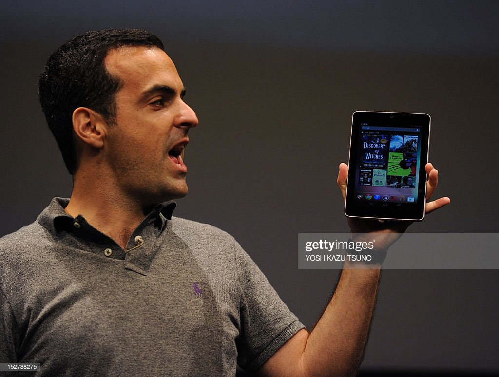 US Internet giant Google product management director of Androir Hugo Barra displays the company's Nexus 7 tablet computer equipped with a 7-inch LCD display and a quad-core Tegra processor in its 340g body in Tokyo on September 25, 2012. Google said on September 25 it was launching its Nexus 7 tablet computer in Japan, aiming to take on Apple's iPad in one of the most lucrative markets in the world. AFP PHOTO / Yoshikazu TSUNO