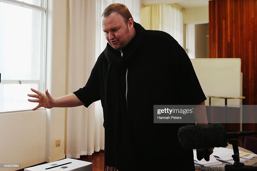 Internet MANA founder <a gi-track='captionPersonalityLinkClicked' href=/galleries/search?phrase=Kim+Dotcom&family=editorial&specificpeople=8806663 ng-click='$event.stopPropagation()'>Kim Dotcom</a> casts his advance vote at Liston House on September 3, 2014 in Auckland, New Zealand. The Internet MANA party will go head to head with other parties at the general election on 20 September 2014.