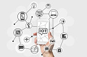 Internet of Things (IOT) concept with hand holding modern white and silver smart phone. Connected devices in the cloud as technology background