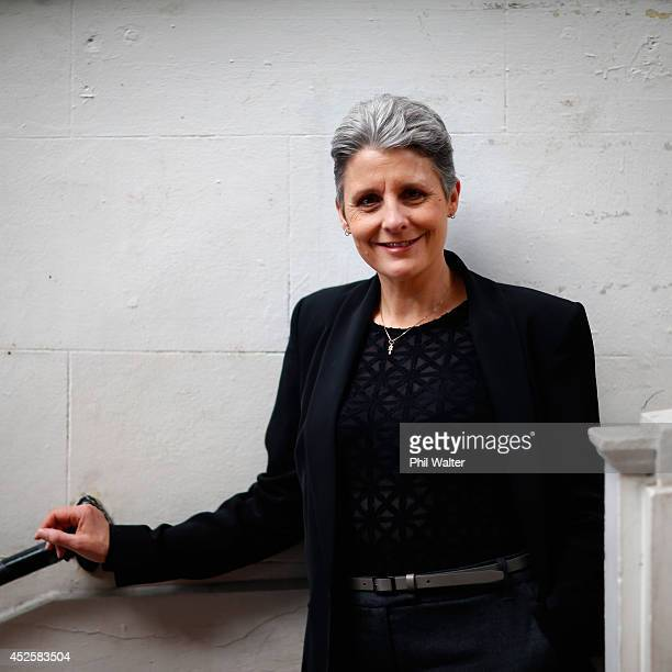 Internet Party Leader Laila Harre poses during a portrait session at the St Kevins Arcade on July 24 2014 in Auckland New Zealand New Zealanders will...